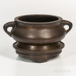 Bronze Bombe Censer and a Stand