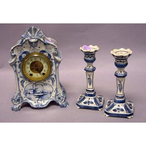 Three-Piece Royal Bonn/Waterbury Clock Co. Delft China Clock and Candlesticks Set.