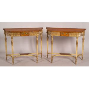 Pair of George III  Polychrome, Parcel-gilt and Inlaid Satinwood Demilune Consoles