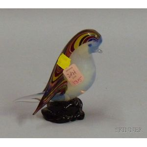 Polychrome Decorated Murano Glass Figure of a Bird.