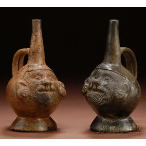 Two Pre-Columbian Pottery Portrait Vessels