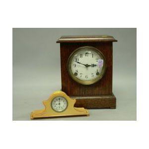 Sessions Oak Mantel Clock and an Ingraham Art Deco Plastic Dresser Clock.