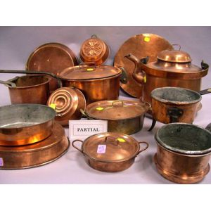 Sixteen Pieces of Copper Kitchen Cookware
