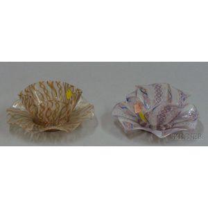 Two Italian Latticinio Decorated Bowls and Underplates