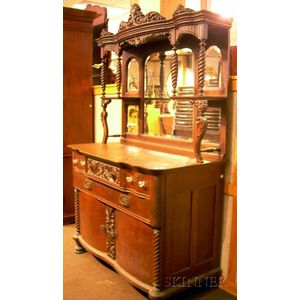Victorian Carved Oak and Mirrored Two-Part Sideboard