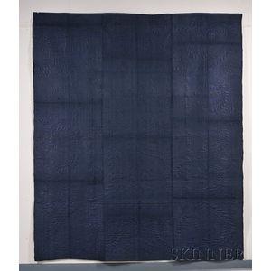 Glazed Indigo Wool Calamanco/Whole Cloth Quilt