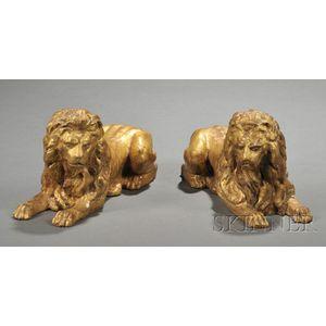 Pair of Giltwood Recumbent Lions