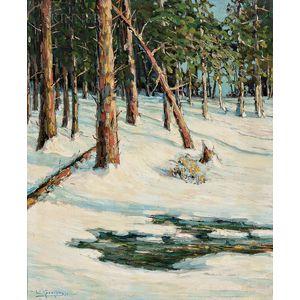 Walter Koeniger (American, 1881-1943)      Sunlit Trees and Brook in Snow
