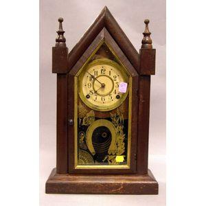 Brown Painted Waterbury Clock Co. Steeple Shelf Clock
