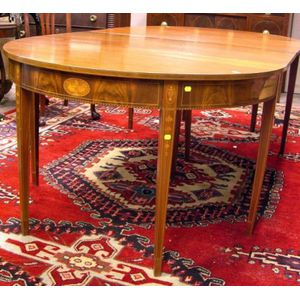 Federal-style Inlaid Mahogany and Mahogany Veneer Two-Part Dining Table.