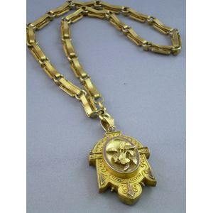 Victorian Gilt Metal Locket and Fancy Link Chain Necklace.