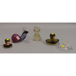 Five Colorless and Colored Glass Items