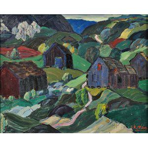 Leighton Cram (American, 1895-1981)      Landscape with Blue Barn