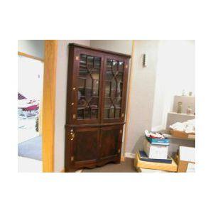 Chippendale-style Glazed Walnut Corner Cupboard.