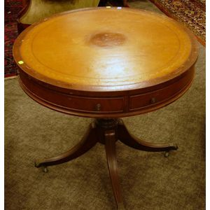Georgian-style Leather-inset Mahogany Drum Table.
