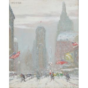 Johann Berthelsen (American, 1883-1972)      Snowy Street, Times Square