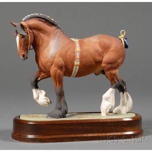 Royal Worcester Bone China Model of a Shire Stallion