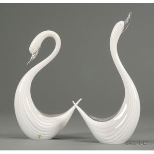 Two Archimede Seguso Swan Sculptures