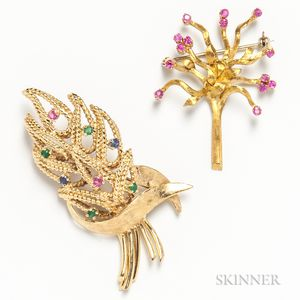 18kt Gold and Ruby Tree Brooch and a 14kt Gold Gem-set Leaf Brooch