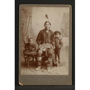 Cabinet Card of a Prairie Man and Two Children