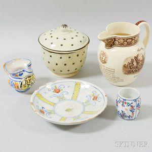 Five Ceramic Tableware Items