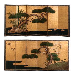 Pair of Kano School Screen Paintings