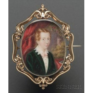 Portrait Miniature of a Red-Haired Girl in Green