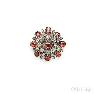 Antique Ruby and Diamond Brooch