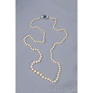Art Deco Pearl and Sapphire Necklace