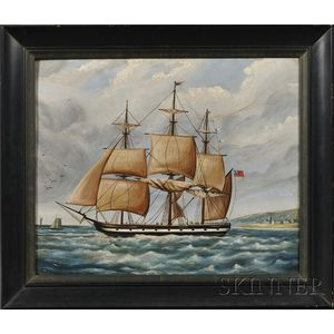 Anglo/American School, 19th Century      Portrait of a Ship Leaving an English Port.