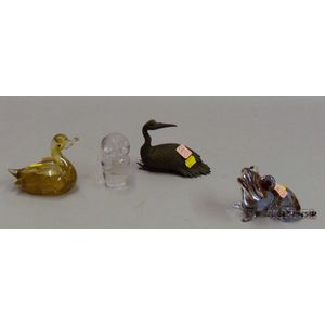 Murano Glass Toad and Duck, Kosta Figure of an Owl, and an Asian-style Bronze Bird.