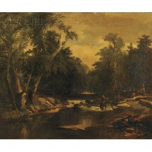 William Hart (American, 1823-1894)      Horse and Rider Crossing a Woodland Stream