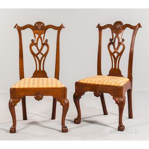 Pair of Shell-carved Walnut Side Chairs