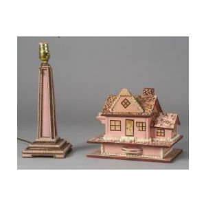 Painted Tramp Art Cottage-form Sewing Box, a Table Lamp and Three Frames.
