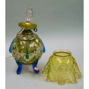 Two Part Enameled Victorian Glass Lamp