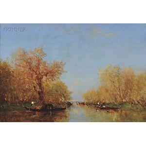 Félix François Georges Philibert Ziem (French, 1821-1911)      Gondolas on a Lagoon in Autumn