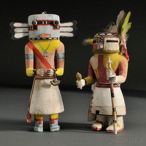 Two Hopi Polychrome Carved Wood Kachina
