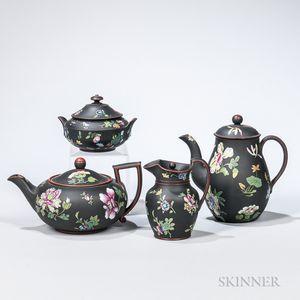 Four Wedgwood Enameled Black Basalt Tea Wares