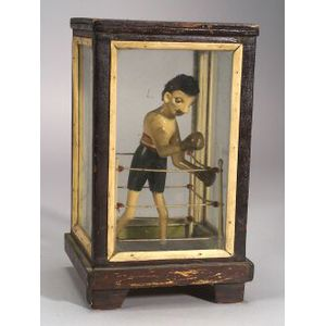 Folk Art Carved and Painted Boxer Figure in a Glazed Wooden Case
