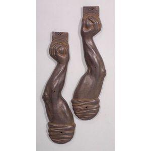 "Pair of Cast Iron ""Arm"" Shelf Brackets"