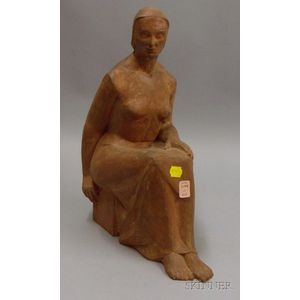 American School 20th Century Terra-cotta Sculpture of a Seated Woman