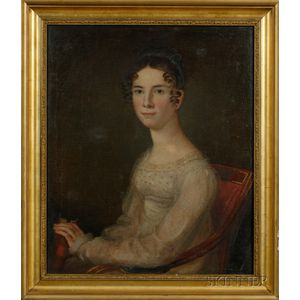 American School 19th Century      Portrait of Harriet McAlister (1796-1819) of Savannah, Georgia.