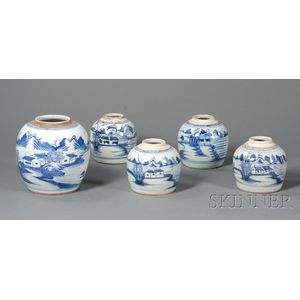 Five Blue and White Chinese Export Porcelain Ginger Jars