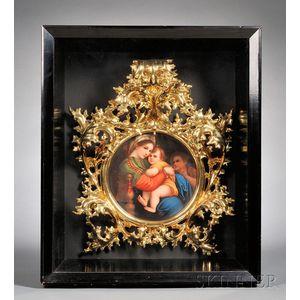 German Painted Porcelain Plaque After Raphael