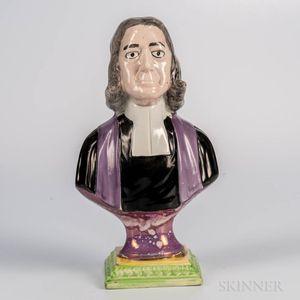 Sunderland Pink Lustre Decorated Bust of John Wesley