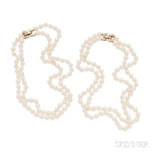 18kt Gold, Diamond, and Cultured Pearl Necklace