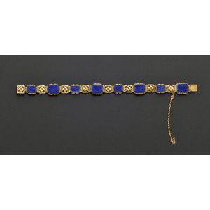 Arts & Crafts 14kt Gold and Lapis Bracelet, attributed to Edward Oakes