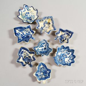 Eight Staffordshire Blue and White Transfer-decorated Pottery Leaf-form Dishes