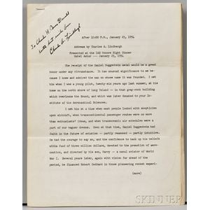 Lindbergh, Charles (1902-1974) Typed Speech Signed, 1954.