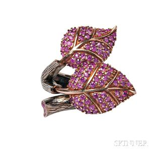 Sterling Silver and Ruby Ring, Sazingg